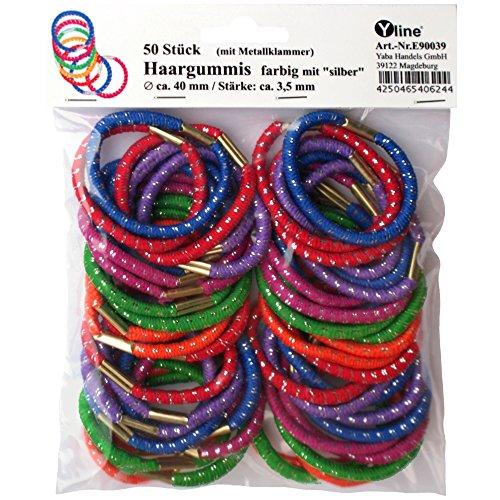 50 Haargummis farbig / silber 40mm mit Klammer Zopfgummis, Haarschmuck, Kinder Haar Zopf Gummi, E90039 - Zopf-gummis