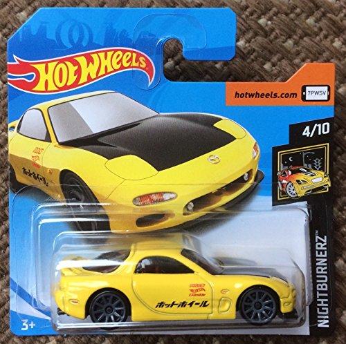 Hot Wheels 2018 \'95 Mazda RX-7 Yellow 4/10 Nightburnerz 16/365 (Short Card)