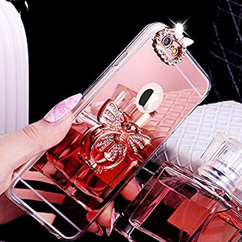 Coque iPhone 6, iPhone 6S Coque Brillante, SainCat Ultra Slim TPU Silicone Case Cover pour iPhone 6/6S, Coque Sparkles Bling Glitter Diamante Strass Miroir Anti-Scratch Soft Gel 3D Silicone Transparen Or Rose #2