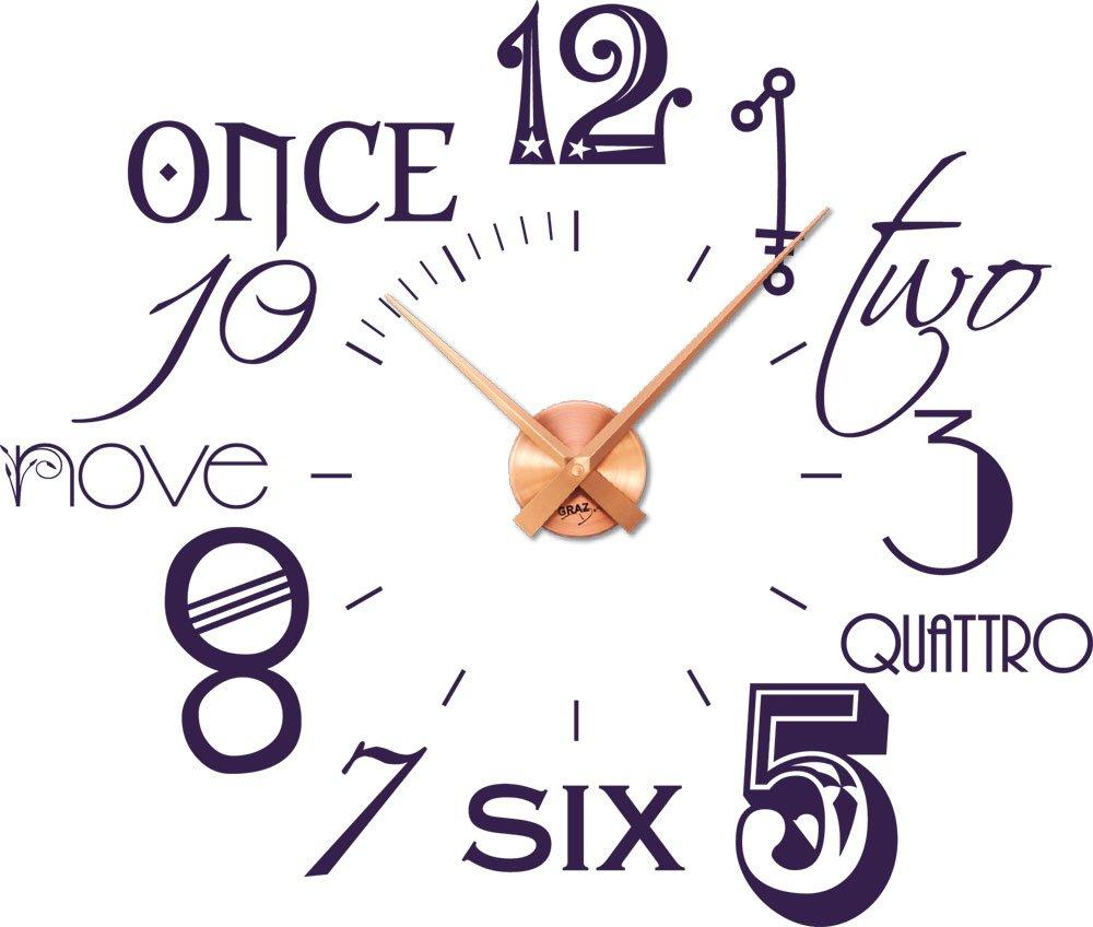 Amazonde Wandtattoo Uhr Mit Modernem Design Internationalen Zahlen Braun Silber