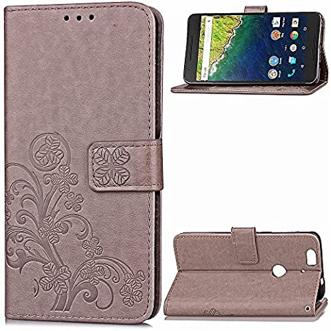 Google Nexus 6P Case,BONROY® Google Nexus 6P Lucky Clover Embossed Leather PU Phone Holster Case, Flip Folio Book Case, Wallet Cover with Stand Function, Card Slots Money Pouch Protective Leather Wallet Case for Google Nexus