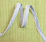 5m Schrägband mit Häkelborte Punkte hellblau 15