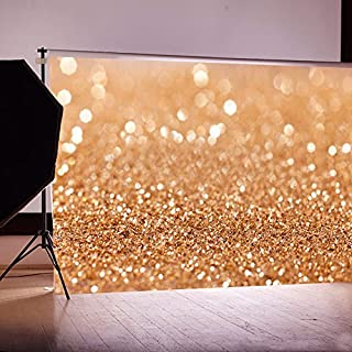 AFUT 7x5ft Gold Glitter Sequin Spot Backdrop, Less Crease Computer Printed Bokeh Backgrounds Party Wedding Children Newborn Photography Studio Props (Updated Material)