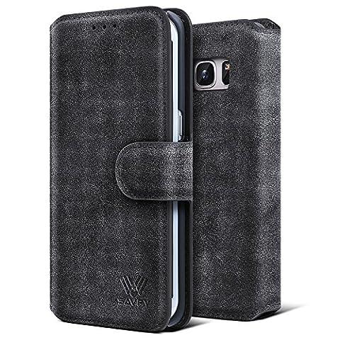 Etui Samsung Galaxy S7 Edge, SAVFY® Housse Pochette en Cuir