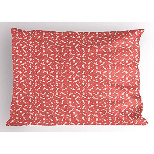 2pcs Cactus Print Pillow Sham,zweifarbige Kakteenpflanzen mit Dornen in Töpfen Simplistic Arrangement Pattern,dekorative Standard Queen Size gedruckt Kissenbezug,36 X 20,Koralle und weiß -