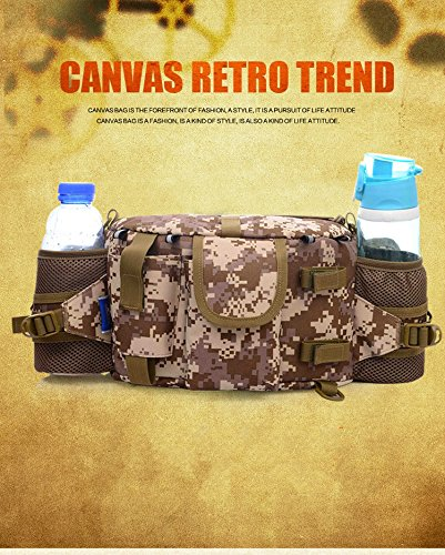 Marsupio Marsupio impermeabile militare tattico–Borsa a tracolla borsa di tela–�?L Big Retro Trend Marsupio per Sport all' aperto campeggio escursionismo equitazione viaggio Esercizio, Desert Camo, Desert Camo