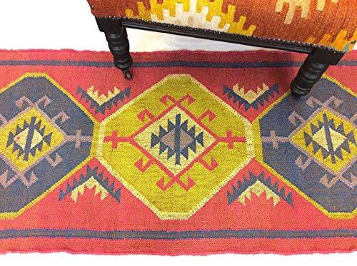 Tribal Geometrische kaukasischen Design Rot Nomaden Hand Made Jute und Wolle wendbar Kelim Teppiche Läufer 60x 245cm -