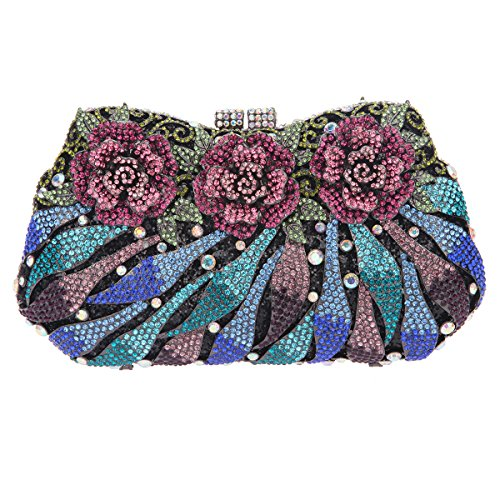 Bonjanvye Glitter Studded Flower Clutches for Wedding and Party Multicolor