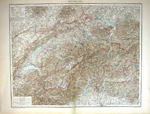 Antike Karte C1893 die Schweiz Genfersee Mulhausen Zürich Como