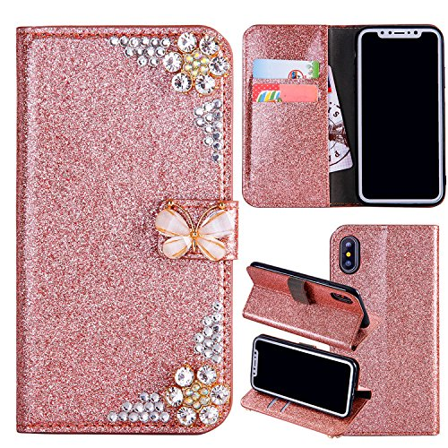iPhone SE Leather Case,iPhone 5S Flip Wallet Case,iPhone SE Cover,Cool 3D Rose Butterfly Bling Glitter Diamond Pattern Leather Stand Function Flip Kickstand Magnetic Book Wallet with Card Slot Holder Protective Cover Case for iPhone 5S/SE/5