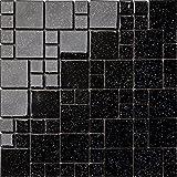 Glas Mosaik Fliesen Matte Steine in Zwei Größen Schwarz mit mehrfarbige Glitzer (MT0011)