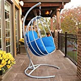 Ei-hängender Schwingen-Stuhl mit Kissen, Patio-Schwingen im Freien mit C-Stand, Ei-hängender Hängematte-Schwingen-Stuhl-einzelner Sitz