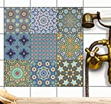creatisto Fliesenaufkleber Mosaikfliesen Fliesensticker | Dekorsticker Fliesen Folie Sticker Küche renovieren Bad Wandtattoo Wandfliesen | 10x10 cm - Motiv Orientalisches Mosaik - 9 Stück