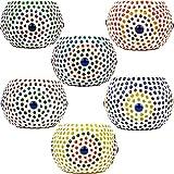 6er Set Orientalisches Mosaik Windlicht Ajan 9 cm groß Bunt   Orientalische Glas Teelichthalter orientalisch   Marokkanische Windlichter aus Glas als Dekoration   6 Stück - 5