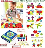 Vibgyor Vibes Wooden Pattern Blocks for Various Puzzles and Innovative Shapes with Illustration Cards