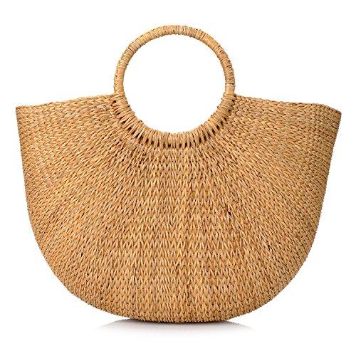 Natürliche schicke handgewebte Runde Griff Ring Stroh Tote Retro große Casual Sommer Frauen Strand Handtaschen (Stroh-strand-tote)