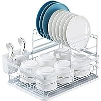 Egouttoir Vaisselle Cuisine Rangement Évier: Égouttoir Vaisselle Métal à 2 Niveaux - Support Ustensiles Comptoir…