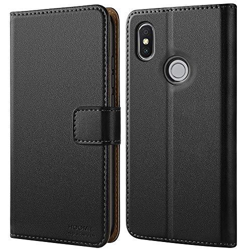 HOOMIL Handyhülle für Xiaomi Redmi S2 Hülle, Premium Leder Flip Schutzhülle für Xiaomi Redmi S2 Tasche, Schwarz