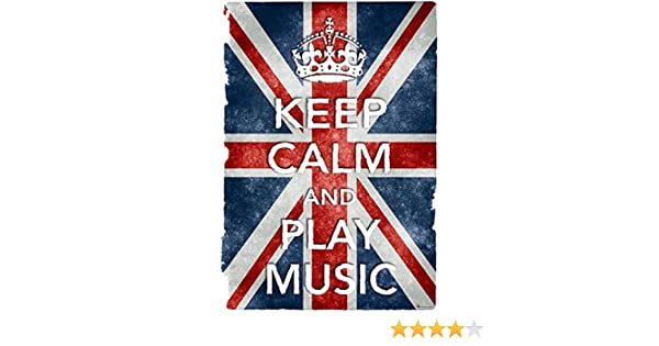 KCV32 Vintage Style Union Jack Keep Calm Play Music Funny Poster Print A2//A3//A4