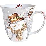 Ambiente Weihnachten Tasse SNOWMAN Porzellan Becher Bone China Snowman Holding Robin, Mug, Tasse, Fuer Tee Oder Kaffee ca. 0,4L - Ideal Als Geschenk
