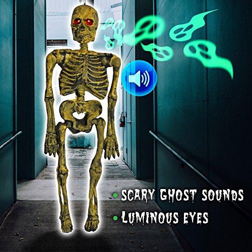 BenefitUSA Hängendes Skelett elektrischer Geister mit leuchtenden Augen Sound Rep Spukhaus, Hof, Gruselige Halloween-Dekoration, 66 cm ()