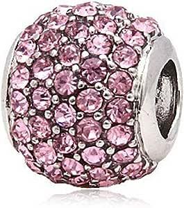 Andante-Stones 925 Argento Pavé Bead con zirconi scintillanti (Rosa) Ciondolo da donna Charm per bracciali e collane europei + sacchetto di organza