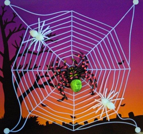 Spinnennetz mit Spinnen + Saugnäpfen fluoresz.