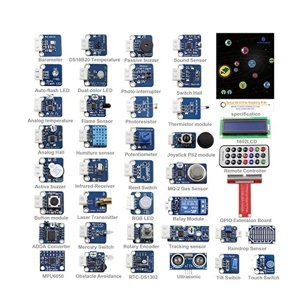 61%2BSMiIqdfL. SS600  - SunFounder 37 Modules Sensor Kit V2.0 for Raspberry Pi 3, 2 and RPi Model B+, 40-Pin GPIO Extension Board Jump wires
