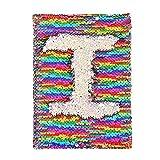 Winmany Journal avec couverture réversible à sequins, belle idée cadeau, bloc-notes, agenda scolaire Journal quotidien Calendrier et journal de gratitude pour enfants ou adultes Festival anniversaire Rainbow Silver