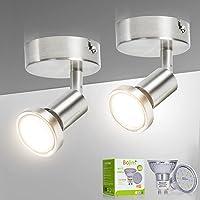 Bojim Plafonnier 1 Spot LED Orientable 2 Pack, Spots de Plafond Pivotants & Mats, Applique Murale Interieur pour Salle…