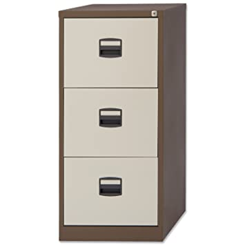 High Quality Trexus Filing Cabinet Steel Lockable 3 Drawer W470xD622xH1016mm Brown And  Cream