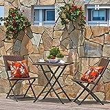 Sillas De Juegos Best Deals - Terraza Balcón Muebles plegable bistro de sets de muebles, madera resina y ratán Jardín Mesa de juego, 3piezas mesa y sillas