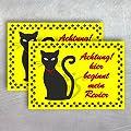 """2 Katzen - Aufkleber """"Achtung hier beginnt mein Revier"""" 14,8 x 10,5cm witterungsbeständig"""