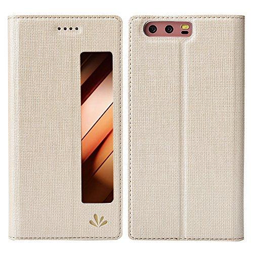 Feitenn Huawei P10 Hülle, dünne Premium PU Leder Flip Handy Schutzhülle mit dem Ansichtsfenster | TPU-Stoßstange, Magnetverschluss, Kameraschutz- und Standfunktion Brieftasche Etui (Gold)