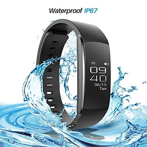 iWOWNfit Smart Armband Bluetooth Fitness Tracker i6 Pro Herzfrequenzmesser Schrittzähler Sport Step Tracker Kalorienzähler Schlaf Monitor Anruf Erinnerung Touch Screen Wasserdicht IP67 für iPhone Android Smartphone