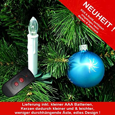 20er Set Kabellose LED Christbaumkerzen inkl. Funkfernbedienung und kostenlose 20 x AA Batterien und 2x AAA Batterien