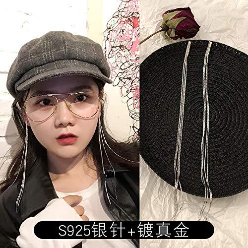 Chwewxi Temperament Korea Super Fee Lange Quaste Ohrringe Flut rundes Gesicht dünne Ohrringe Ohrringe Ohrringe weiblich, Silber Schlange Knochen Quasten-20cm (Gold plattiert + Silberne Nadel)