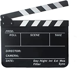 Imported Clapperboard TV Film Movie Clapboard Black Board with White and Black Stripe