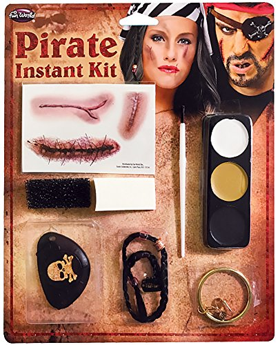 Halloween Pirate Fancy Dress Make Up Kit with Teeth Makeup Pencil & Beaded Hair (Pirate Halloween-make-up)