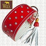 Woza Premium Whippet Halsband 4,4/37CM Diamonds Swarovski Steine Vollleder ROT Rindleder Nappa WEIß WINDHUND Handmade Greyhound Collar