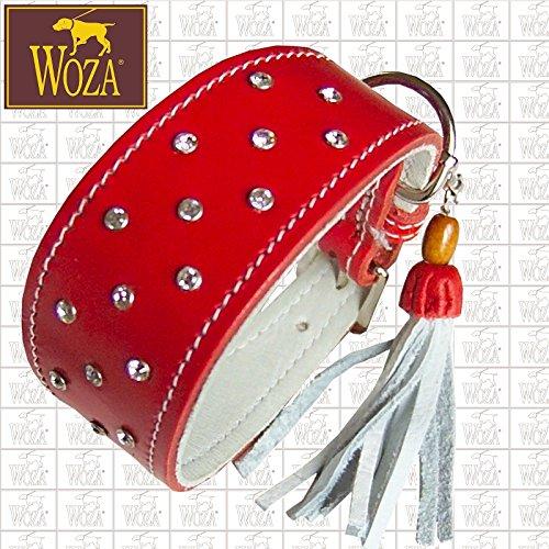 Woza Premium Whippet Halsband 4,4/37CM Diamonds Swarovski Steine Vollleder ROT Rindleder Nappa WEIß WINDHUND Handmade Greyhound Collar -