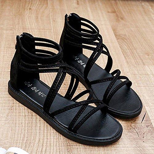 ... Transer® Damen Sandalen Flach Ankle-strap Kreuzgürtel Künstliches PU+ Gummi Grau Schwarz Sommer ... fed3dd48bf