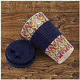 CasaBasics Designer Kaffeebecher to Go aus nachhaltigem Bambus   Kaffee to go Becher ist wiederverwendbar, Vegan, umweltfreundlich, lebensmittelecht und geeignet für die Spülmaschine   450ml / 15oz - 3
