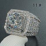 Bazhahei Anillo Domineering Men'S And Women'S Diamond Rings Full Diamond Micro Inlay Rings Las Mujer de Los Hombre de Moda de Lujo Accesorios de JoyeríA Brillante Di Zafiro Blanco Natural