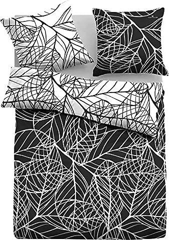 Tom Tailor Mako Satin Bettwäsche black & white 1 x 80x80 + 1 x 155x220 cm (69718-821) (Black Satin Bettwäsche)