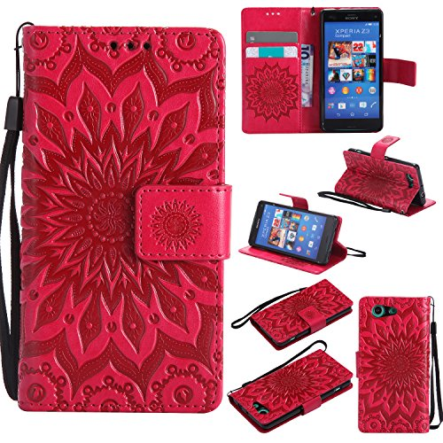 For Sony Xperia Z3 Mini/Compact Case [Red],Cozy Hut [Wallet Case] Magnetic Flip Book Style Cover Case ,High Quality Classic New design Sunflower Pattern Design Premium PU Leather Folding Wallet Case With [Lanyard Strap] and [Credit Card Slots] Stand Function Folio Protective Holder Perfect Fit For Sony Xperia Z3 Mini/Compact 4,6 inch - red Test
