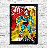 Arthole.it Superman Dc Comics - Quadro Pop-Art Originale con Cornice, Dipinto, Stampa su Tela, Poster, Locandina