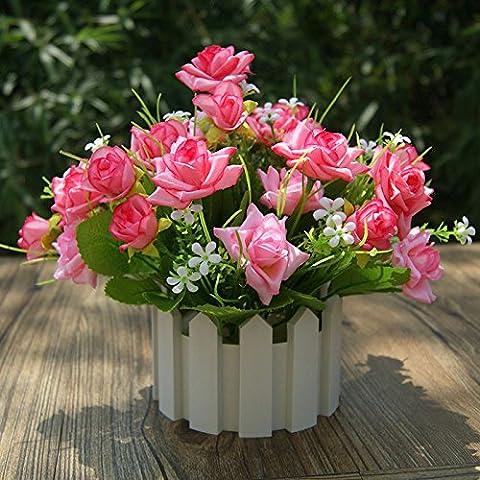 DSAAA Mini Garten Blumen Blume emulation Künstliche Blumen kleine Topfpflanzen Schreibtisch suite Zaun Kunststoff Blumen Brautstrauß Kunst