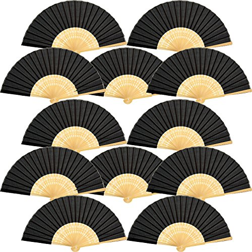 12 Piezas de Abanicos de Mano Abanicos Plegables de Bambú Seda para...