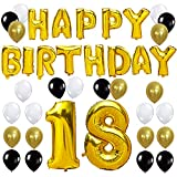 KUNGYO Joyeux Anniversaire Happy Birthday Lettres Ballon+Nombre 18 Mylar Foil Ballon +24 pièces Noir Or Blanc Latex Ballon- Parfait pour la Décoration de Fête D'anniversaire de 18 ans